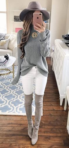 grey and white outfit perfection: knits + over-the-knee boots + white skinnies
