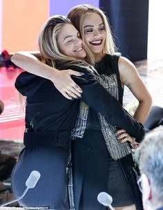 All better? Rita Ora looked pleased as she hugged her X Factor hopeful Louisa Johnson at r...