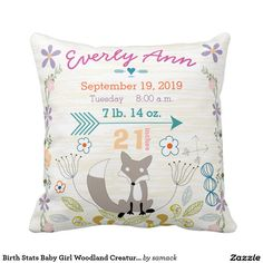"""Woodland Creatures Keepsake Birth Stats Baby Girl Fox Throw Pillows ::: Today only! 29% off at Zazzle 