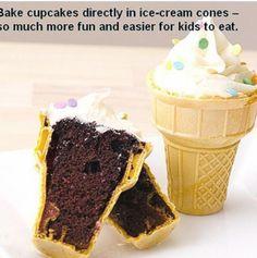 Leuk idee voor traktatie. Bak een cakeje in een ijshoorntje.