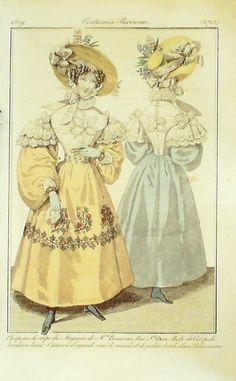 GRAVURE de MODE AUTHENTIQUE-I296-COSTUMES PARISIENS-CANEZOU ORGANDI-n°2712-1829 …