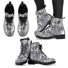 Black  and White cats Boots! 100% vegan ! Lush boots for women. Be inspired with Your Amazing Design colorful women's shoes.  Free shipping. Vegan boots. Bring good vibes with unique art and heart.