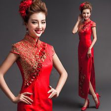 Red Cheongsam Evening Prom Wedding Bridesmaids Dress Ballgown Chinese style Y56F