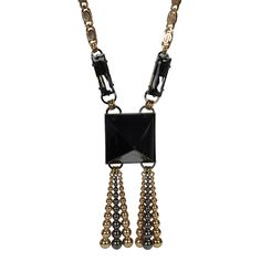 Onyx Pyramid Tassel Necklace - Necklaces - Anton Heunis - Fashion Jewelry