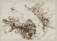 Salvator Rosa (1615-73), Studies for the Death of Empedocles, after 1666. 127x183 mm. KKSgb438