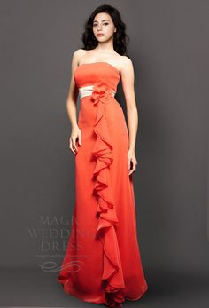 £110 Strapless Long Flower Decorated Bridesmaid Dress