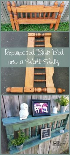My Repurposed Life makes a useful wall shelf out of a repurposed bunk bed @repurposedlife