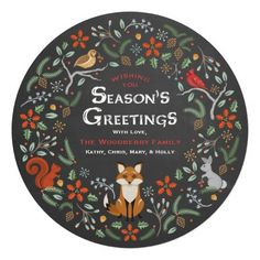 Chalkboard Woodland Wreath Christmas Photo Card  — Charming woodland animals (squirrel, snow bunny, cardinal, partridge bird, and a red fox) with snowflakes, flowers, pinecones, and holly. Room on the back for your family photo or remove it for additional text. Very easy to customize. Season's Greetings! Original Illustration by pj_design.