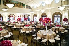 The gorgeous ballroom flipped from the ceremony for the reception. Photography by Adam Nyholt, Photographer.