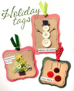 Christmas button tags -- would like to make this yr but would have to find Martha punch(es) on sale. Or I could a straight design. Christmas Buttons, Noel Christmas, Handmade Christmas, Christmas Ornaments, Nordic Christmas, Button Christmas Cards, Diy Christmas Tags, Button Ornaments, Snowman Ornaments