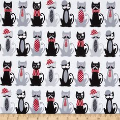 Timeless Treasures Fur & Flutter Cats with Mustaches White from @fabricdotcom  Designed by Timeless Treasures, this cotton print fabric is perfect for quilting, apparel, and home decor accents. Colors include black, pink, white, shades of grey, and shades of red.