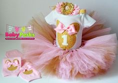 pink and gold first birthday outfit, first birthday outfit, first birthday girl outfit, pink birthda Baby First Birthday Themes, Gold First Birthday Outfit, Pink Gold Birthday, Minnie Mouse Birthday Outfit, 1st Birthday Girls, Birthday Ideas, Princess Birthday, Pink And Gold, Mousse