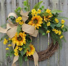 Sunflower Wreath, Spring / Summer Wreath, Burlap Sunflower Wreath, Burlap Sunflower Decor, Burlap Spring Wreath, Horn's Handmade, Spring by HornsHandmade on Etsy https://www.etsy.com/listing/227058535/sunflower-wreath-spring-summer-wreath