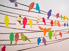 Great idea for group project. 5/6 area. Bird on a wire. Silhouette and decoration with special paper or Zen tangle pattern. Students write one word to describe them.