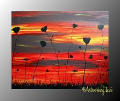 """ALL IMAGES ARE THE PROPERTY OF ArtworkbyJeni AND ARE COPYRIGHT PROTECTED - PLEASE DO NOT STEAL, USE, OR REPRODUCE THESE IMAGES WITHOUT WRITTEN PERMISSION FROM THE ARTIST. SOLD by ArtworkbyJeni Orignal Artwork 14"""" x 11"""" Acrylics on Canvas Painting by ArtworkbyJeni - """"Climbing Toward the Skies"""" #field #flower #sky #colorful #sunset #colourful #art #artwork #painting #acrylic #decor #ArtworkbyJeni #landscape #nature #country #farm #farmer #ranch"""