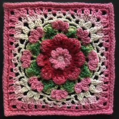 Crochet Granny Square Blankets Ravelry: Project Gallery for The Darling Dahlia Square pattern by Jen Tyler - Crochet Squares Afghan, Granny Square Crochet Pattern, Crochet Blocks, Crochet Flower Patterns, Afghan Crochet Patterns, Crochet Motif, Diy Crochet, Crochet Crafts, Crochet Stitches