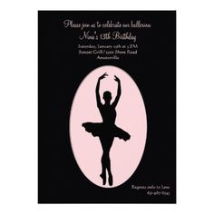 Shop Center Stage Ballerina Invitation created by PixiePrints. Dance Party Birthday, Cool Birthday Cards, Birthday Cards For Boyfriend, Ballerina Birthday, 13th Birthday, Diy Birthday Invitations, Dance Recital, Contemporary Dance, Center Stage