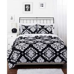 (at Walmart Online) Classic Noir Bedding Reversible Comforter Set  {$60-70. Decent price for a nice black + white set}