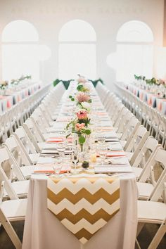 gold chevron table runner http://www.weddingchicks.com/2013/10/07/alternative-wedding/