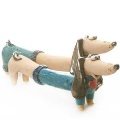 www.etsy.com/uk/shop/ankachristofdesigns Lovely Ornament Choice between Dog in Pants Or Sweater Engagement Present, Christmas Present, Birthday Present. Cool Gift For Dachshunds Lovers Mr and Mrs Couple of Ceramic Dogs in Sweater and Pants Little Dogs, Dog Crate Table, Engagement Presents, Clay Flower Pots, Mini Canvas Art, Family Birthdays, Daughter Birthday, Dachshund Dog, Cute Love