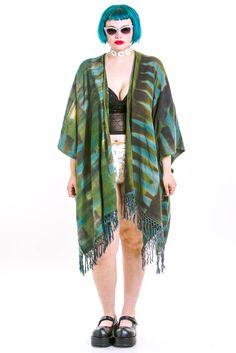 Greenery Fringe Kimono - M - 4X