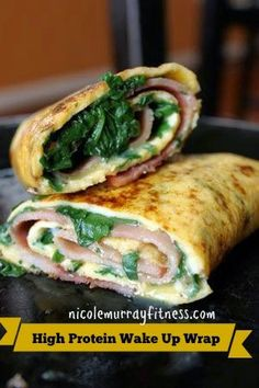 Nicole Murray Fitness: High Protein Breakfast Wrap Ingredients:  2 oz. of cooked chicken or turkey breast, diced 3 Egg Whites, whisked 1 cup of spinach leaves 1 slice of reduced-fat swiss cheese 1 6-in whole wheat tortilla Nonstick Cooking Spray  Directions:  Heat a nonstick skillet coated with nonstick cooking spray over medium heat. Add the chicken or turkey, eggs and spinach and scramble. Cook until eggs are cooked through - about 5 minutes. Add the cheese and remove from the heat. Pile…