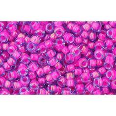 cc980 - perles de rocaille toho 2.2mm light sapphire/ neon pink lined (10g)