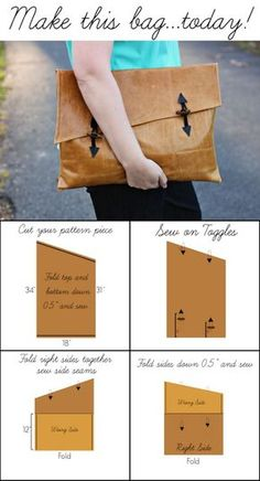 DIY Oversized Asymmetrical Leather Clutch Tutorial