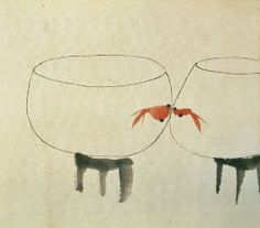 Goldfish kisses a painting by chen chi-kwan Japanese Painting, Chinese Painting, Chinese Art, Chinese Brush, Illustrations, Illustration Art, L Wallpaper, Culture Art, Photo Animaliere
