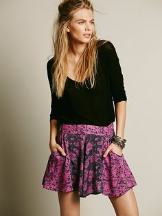 Free People Mixed Print High Rise Skort at Free People Clothing Boutique
