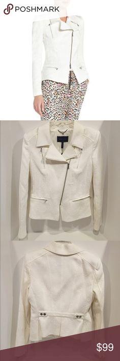 BCBG Max Azria BOE Moto Jacket BCBG Max Azria BOE Moto Jacket in Gardenia color (white with pattern) Beautiful jacket NWT. No stains, No odors, Smoke free. (No trades) BCBGMaxAzria Jackets & Coats Blazers