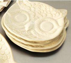 White Owl Plates, Set of 4