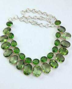 80 Gr. Stunning Peridot .925 Silver Handmade  Fashion Jewelry Necklace  #Handmade #Necklace