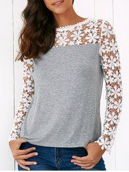 Lace Splicing Floral Blouse