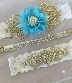 wedding garter set  3 piece bridal garter by ThePinkBunnyWeddings