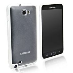 BoxWave Samsung GALAXY Note UniColor Case (Fits both AT and International Versions) - Sleek Dual Tone TPU Case for Durable Anti-Slip Protection, Transparent Matte Back with Solid Border - Samsung GALAXY Note Cases and Covers (Frosted White)