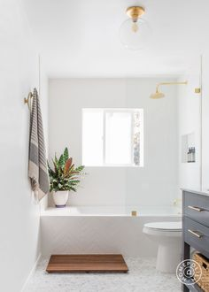 Vanity: Home Depot Mirror: Faucet: Restoration Hardware Vanity Light: Etsy Showerhead: Restorati Bathroom Renos, Laundry In Bathroom, Small Bathroom With Tub, Bathroom Ideas, White Bathroom, Bathroom Beach, Bathroom Hardware, Small Bathrooms, Modern Bathroom