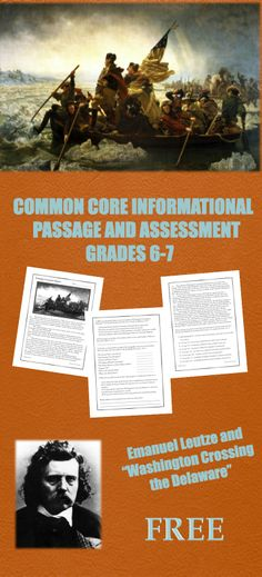 """FREE Common Core-aligned Passage and Assessment on Emanuel Leutze and the famous painting """"Washington Crossing the Delaware. 7th Grade Social Studies, Social Studies Curriculum, Social Studies Classroom, Social Studies Resources, Teaching Social Studies, Teaching History, Classroom Fun, Middle School History, Middle School English"""