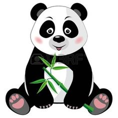 cartoon panda: Sitting little cute panda with green bamboo isolated on white background  Vector illustration, no transparency