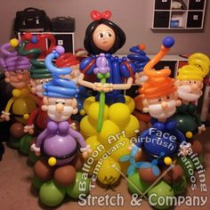 Stretch & Company Balloon Decor Snow White & Dwarfs Columns www.stretchc.com