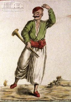 JACQUES GRASSET DE ST.SAUVEUR (1757-1810) (painter) & J. LAROQUE (engraver] Man from Siphnos island in local attire 1784, coloured etching, 21 x 14.5 cm Cyclades Mykonos, Santorini, Paros, Greek Costumes, Folk Fashion, Serbian, Folk Costume, Bulgarian, Sirens