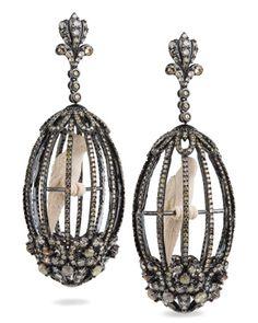 Bird Cage earrings in 18k oxidized gold .