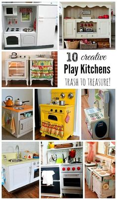 10 Creative DIY Play Kitchen Ideas ~ Trash to Treasure! 10 Creative DIY Play Kitchen Ideas ~ Trash to Treasure! Diy Play Kitchen, Toy Kitchen, Kitchen Ideas, Kitchen Storage, Repurposed Furniture, Kids Furniture, Kitchen Furniture, Furniture Stores, Furniture Online