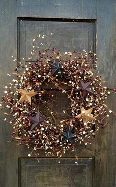 Primitive Americana Wreath with Pip Berries and Barn Stars | Etsy
