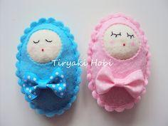 ♥ Tiryaki Hobi ♥: Keçe bebek şekeri / doğumgünü magneti