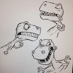 #trex #tyrannosaurus #tyrannosaurusrex #breaksketch #brushpen #cartoon #dinosaur…