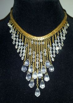 Vintage 1930's Miriam Haskell Frank Hess Waterfall Crystal Bib Dangle Necklace