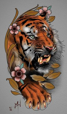 Original ideas of Japanese tattoo designs, wonderful ideas of colorful tattoos with Japanese motifs, tattoo tiger flowers old school frases hombres hombres brazo ideas impresionantes japoneses pequeños tattoo Tiger Tattoo Design, Sketch Tattoo Design, Tattoo Sketches, Tattoo Drawings, Japanese Tiger Tattoo, Japanese Tattoo Designs, Japanese Sleeve Tattoos, Bild Tattoos, Body Art Tattoos