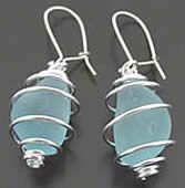 Sea Beach Glass Earrings - Seaglass Earrings, Hoops, Dangles, Sterling Silver
