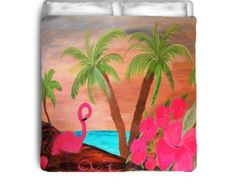 Flamingo in Paradise comforter from my art